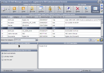 Easy CD DVD Manager: click for more information
